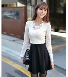 Korean Fashion Lace Stitching OL Slim Dress