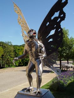 A statue of the mystical Mothman creature (Point Pleasant, WV)   The Most Incredible Roadside Sights And Attractions