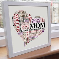Mom or Mummy personalised word art gift. Printable unique Mothers heart present.
