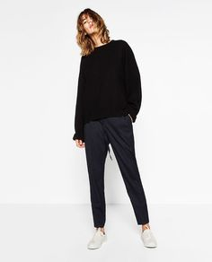 Image 2 of STRIPED TROUSERS WITH CORD from Zara