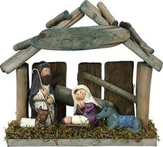 Rustic Wood and Ceramic Small Mossy Christmas Nativity Scene with Creche