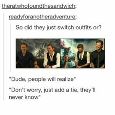 """So did they just switch outfits or? """"Dude, people will realize"""" """"Don't worry, just add a tie, they'll never know"""" # tom hiddleston # chris hemsworth # mcu Funny Marvel Memes, Dc Memes, Marvel Jokes, Avengers Memes, Marvel Dc Comics, Loki Funny, Thor Marvel, Chris Hemsworth Thor, Disney Channel"""