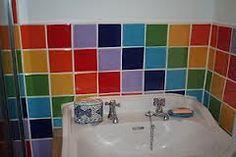 colourful kitchen tiles - Google Search Loft Bathroom, Downstairs Bathroom, Colourful Kitchen Tiles, Bathroom Inspiration, Bathtub, Rainbows, Kitchen Ideas, House Ideas, Color