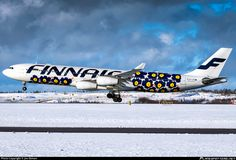Finnair Airbus A340-313 OH-LQD arriving at Helsinki-Vantaa, February 2016. The Poppies (Unikko) livery design from 1964 is the most iconic and reproduced pattern to come from the internationally renowned Finnish house of Marimekko. (Photo: Jon Ekman)