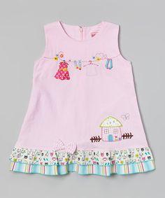 Look what I found on #zulily! Pink Clothesline Ruffle Dress - Infant, Toddler & Girls #zulilyfinds
