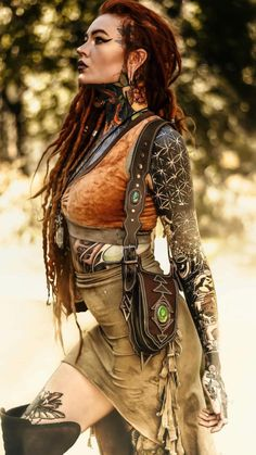 """""""What a caterpillar calls the end, the rest of us call a butterfly. Dreadlocks, Cosplay, Burning Man Fashion, Leather Art, Fantasy Girl, Inked Girls, Female Characters, Girl Tattoos, Character Inspiration"""