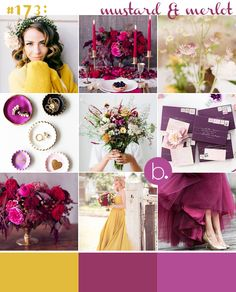 Modern plum & yellow Autumn wedding colour palette
