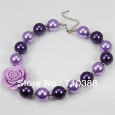 new arrival NB30620 Little girl's jewelry chunky bubblegum beads plastic necklace ROSE FLOWER  FOR choice new $5.50