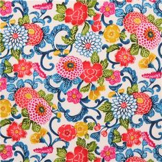Flower Laminate Fabric by Cosmo Import from Japan  white laminated cotton Dobby fabric with colorful flowers and leaves in pink, coral etc. the fabric is structured and has an exciting surface feel due to the special Dobby weaving technique very high quality fabric, typical great Japanese quality water resistant, structured cotton Dobby fabric with laminate coating This fabric is great for sewing clothes, accessories, deco and more. very suitable for totes, raincoats, baby bibs, playmats and…