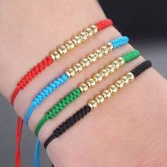 Details about Fashion Mens Woman's Braided Macrame Bracelet Gold Plated Balls Beaded - DIY Jewelry Stone Ideen Bracelet Crafts, Jewelry Crafts, Handmade Jewelry, Handmade Bracelets, Jewelry Ideas, Macrame Jewelry, Macrame Bracelets, Jewelry Bracelets, Jewelry Watches