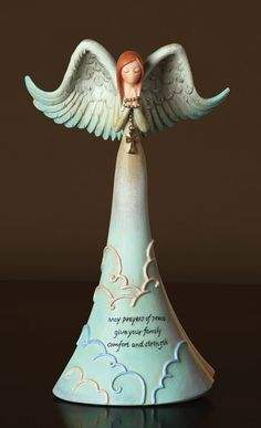 The Prayers Of Peace Angel. Peaceful Blessings for everyone! This handcrafted angel holds a delicate cross. A beautiful gift for your friends and family. Notice how her wings are spread open as if lifting her arms to heaven and the clouds around her skirt symbolize that all earnest prayers reach the heavens. Message of Peace: May Prayers of Peace give your family comfort and strength.