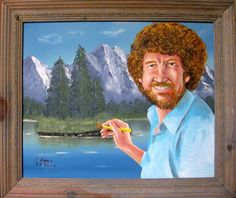 A painting of Bob Ross painting a landscape painting