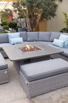 Garden furniture with fire pit Are you looking for perfect furniture set to entertain your guests outdoors? Carina Curved Modular Fire Pit Set has plenty of sitting space. A fire pit provides ample amounts of heat, ideal for chilly evening. Fire Pit Sets, Furniture Sets, Outdoor Garden Furniture, Outdoor Decor, Patio Decor, Fire Pit Furniture, Garden Sofa Set, Fire Pit Patio Furniture, Outdoor Furniture Sets