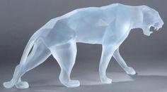 Richard ORLINSKI (Né en 1966) Panthère Sculpture en pâte de cristal. Signée.Edition limitée par Daum à 99 exemplaires. 70 x 31 x 14 cm - Louiza Auktion & Associés - 25/10/2014