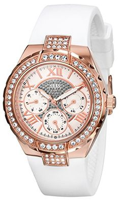 GUESS Womens U0300L2 MidSize MultiFunction White Silicone Watch with Rose GoldTone Case  Genuine Crystal Accents *** Click on the image for additional details.