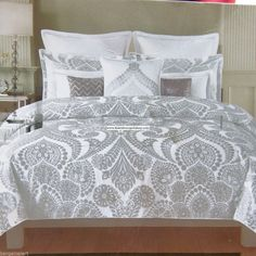 METALLIC SILVER KING DUVET COVER 3pc Damask Scroll SILVER FLORAL Medallions #Tahari #Moroccan