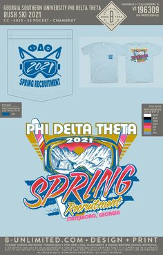 Phi Delta Theta Spring Recruitment Shirt | Fraternity Event | Greek Event #phideltatheta #phidelt Spring Recruitment, Phi Delta Theta, Georgia Southern University, Greek Life, Fraternity, Shirts, Design, Dress Shirts