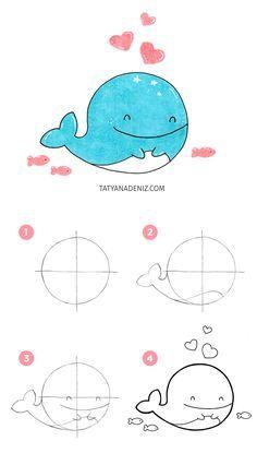How to draw kawaii whale step-by-step tutorial by Tatyana Deniz Animal Drawings, Pencil Drawings, Whale Drawing, Realistic Eye Drawing, Cute Whales, Wal, Step By Step Drawing, Learn To Draw, Easy Drawings