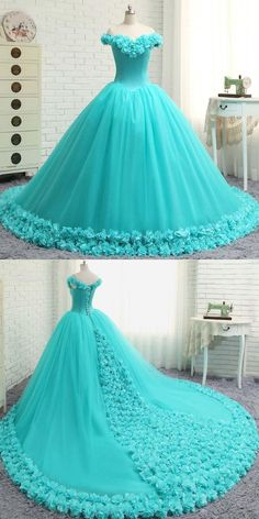 A-Line Off Shoulder Tulle Long Prom Dresses With Hand Made Flower - - pounds - Kleidung Pretty Prom Dresses, Sweet 16 Dresses, Cute Dresses, Elegant Dresses, Beautiful Dresses, Ball Gowns Prom, Ball Dresses, Baby Pageant Dresses, Women's Dresses