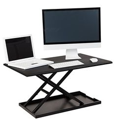 "Amazon.com : Stand Up Desk Store Air Rise Standing Desk Converter Sit to Stand with your current Desk in Seconds, 32"" L, Black : Office Products"