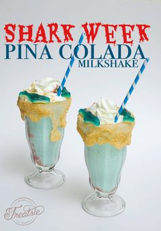 This adult milkshake is part ice cream, part pina colada and all fun with the graham cracker 'beach,' gummy sharks and strawberry 'blood' in the water. Kid Drinks, Alcoholic Drinks, Cocktail Drinks, Cocktails, Pool At Night, Restaurant Drinks, Shark Jaws, Drinking Game, Beach Meals