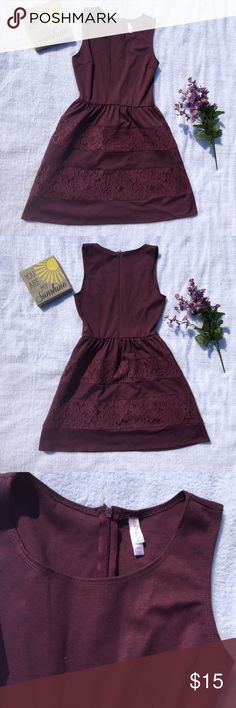 Xhileration burgundy dress Xhileration burgundy fit and flare dress with lace. Very form fitting and flattering. From top to bottom the length is around 32.5. Feel free to ask questions:). Xhilaration Dresses