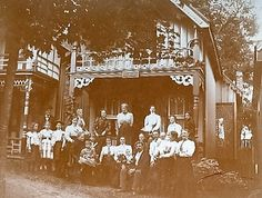 Cottagers at Grimsby Park, 1890s.