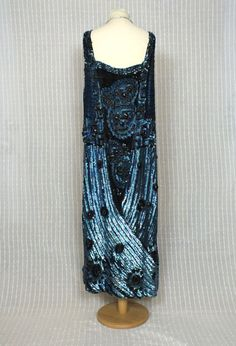 Electric Blue 1920s Beaded and Sequin Flapper by PenniesLondon