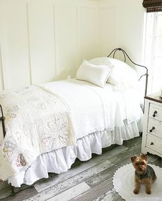 Sometimes it's the simple things in life that bring so much joy, and that extends to design! Age-worn wood floors and an old-fashioned iron… Upstairs Bedroom, Home Bedroom, Bedroom Ideas, Bedroom Inspiration, Kids Bedroom, Cozy Cottage, Cottage Farmhouse, Farmhouse Bedrooms, Cottage Bedrooms