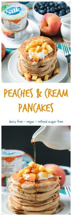 Super thick, soft, and fluffy dairy free pancakes. Make with Peach & Mango Dairy-Free Yogurt Alternative and diced peaches, they are bursting with little bites of fresh peaches throughout. Top them of with more yogurt, fresh peaches, and a touch of pure maple syrup.