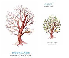 Castaño. De 80 a 130 huellas. Cuadro de huellas / Árbol de huellas www.emporioalberi.com