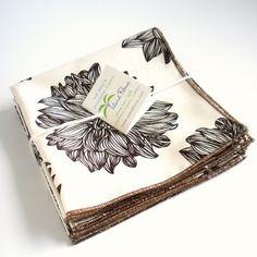 Organic Napkins, Eco Friendly Cloth Napkins, Reusable - Evelyn - Brown & Cream, Set of Four