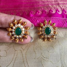 Pls what's app 9790973374 or inbox for price details and ordering. No cash on delivery Gold Jhumka Earrings, Indian Jewelry Earrings, Jewelry Design Earrings, Gold Earrings Designs, Pendant Jewelry, Gold Necklace, Temple Jewellery, Stone Earrings, Bracelet Designs