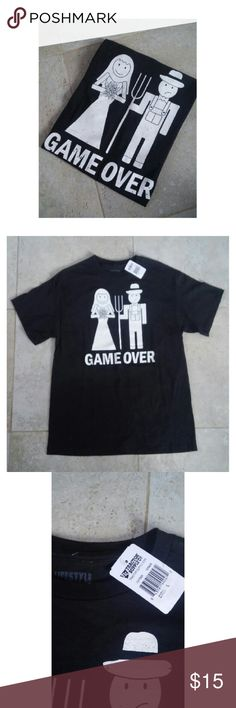 """New! """"Game Over"""" funny marriage shirt size large New with tags! Purchased from tractor supply co """"Game over"""" funny marriage shirt Size large Shirts Tees - Short Sleeve"""