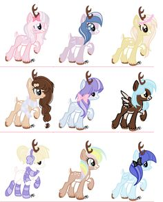 From left to right on every row names 1 Sugar Belle 2 Violet dancer  3 Strawberry Creame 4Alexia Cocoa 5Dalphidile Prancer 6 White Cocoa 7 Sugar Drop 8 Rainbow Cocoa 9 Sheia  There are more sisters still lost out there I am hoping to find and adopt them all, THESE R MY KIDS PLZ DO NOT PIN