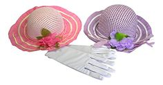 Girl's Tea Party Hats and Gloves Set Zoe Dress up - Pink/Purple * Want to know more, click on the image.