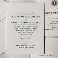 Our Hudson design printed in black ink for the text and a pale, dusty blue for the divider lines for a Brooklyn wedding.