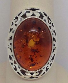 STERLING SILVER 925 LADIES AMBER STONE RING SIZE 7