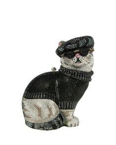 V24CE Judith Leiber Couture Crystal Beatnik Cat Minaudiere, Jet Multi