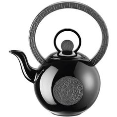 Versace Home La Medusa Teapot (10,385 MXN) ❤ liked on Polyvore featuring home, kitchen & dining, teapots, fillers, kitchen, black, drinks, black teapot, black tea pot and versace