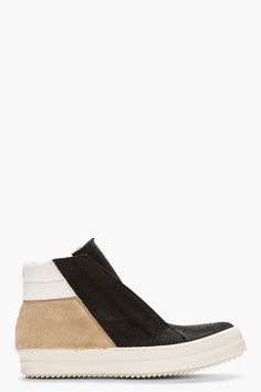 RICK OWENS Black Patchwork Calf-Hair Island Dunk Sneakers