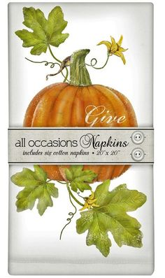 Set of 6 Cotton Cloth Napkins - Mary Lake Thompson - Botanical Pumpkin Give Thanks Thanksgiving * Read more reviews of the product by visiting the link on the image.