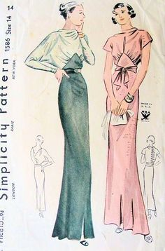 1930s NRA Simplicity Pattern 1586 Evening Dress Gown 2 Bodice Styles Fantastic Draped Neckline and Back Dolman Sleeves or Draped and Peekaboo Neckline Button Back
