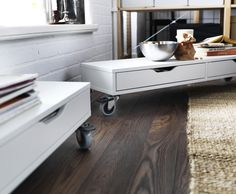 Create a mobile coffee table with the EKBY ALEX shelf. Just attach some RILL casters and you're good to go!