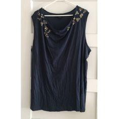 ❗️$10 SALE ❗️Calvin Klein Jeans Beaded Tank Missing beads on both shoulders - see photos. Dark blue color. Never worn. Calvin Klein Tops Tank Tops