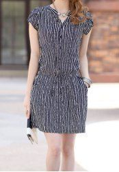 Discover thousands of images about Vertical Stripe Casual V-Neck Single Breasted Short Sleeve Dress For Women - STRIPE Mobile Simple Dresses, Casual Dresses, Fashion Dresses, Short Sleeve Dresses, Dresses With Sleeves, Summer Dresses, Frock Patterns, Casual Wear, Ideias Fashion