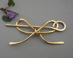 Brass Bow Shawl Pin