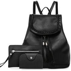 Tassel Braided Backpack Set ($14) ❤ liked on Polyvore featuring bags, backpacks, rucksack bags, knapsack bag, daypack bag, day pack backpack and tassel bag