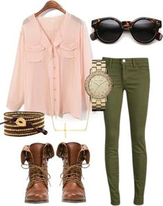 flowing button down shirt, low boots, with olive skinny pants for early fall