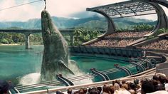 JURASSIC WORLD (2015) Mosasaurs is a genetically altered dinosaur.  Sort of a futuristic Sea World show